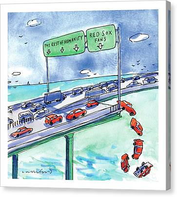 Red Cars Drop Off A Bridge Under A Sign That Says Canvas Print