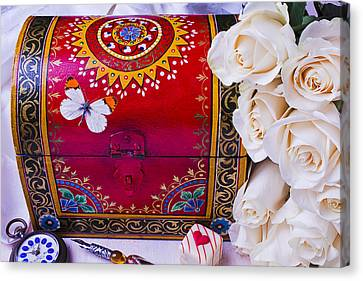 Red Chest And Butterfly Canvas Print by Garry Gay