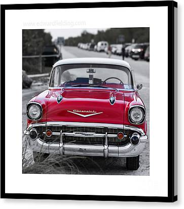 Red Chevy Bel Aire Original Signed Mini Canvas Print
