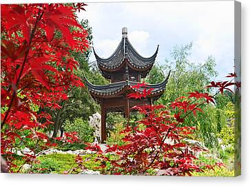 Red - Chinese Garden With Pagoda And Lake. Canvas Print