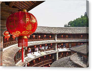 Canvas Print - Red Chinese Lantern In A Hakka Tulou  by Fototrav Print