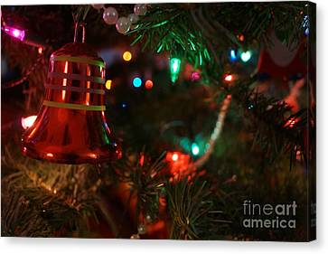 Red Christmas Bell Canvas Print by Kerri Mortenson