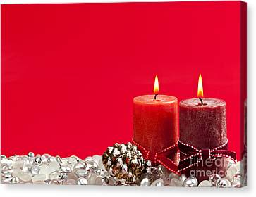 Red Christmas Candles Canvas Print by Elena Elisseeva