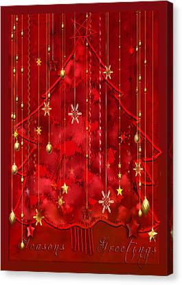 Canvas Print featuring the digital art Red Christmas Tree by Arline Wagner