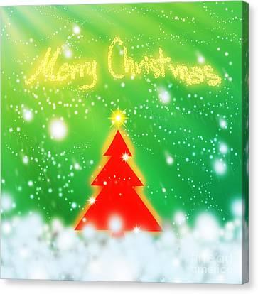 Red Christmas Tree Canvas Print by Atiketta Sangasaeng