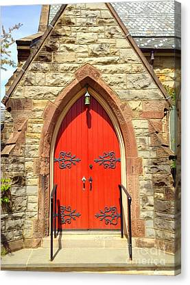Canvas Print featuring the photograph Red Church Door by Becky Lupe