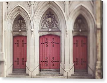 Canvas Print featuring the photograph Red Church Doors by Heather Green