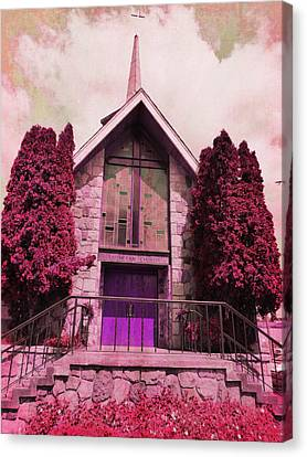 Canvas Print featuring the photograph Red Church by Laurie Tsemak