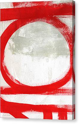Red Circle 2- Abstract Painting Canvas Print by Linda Woods