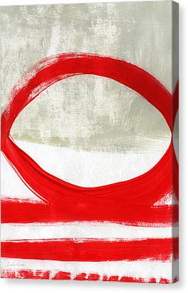 Red Circle 4- Abstract Painting Canvas Print by Linda Woods