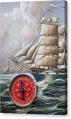 Red Compass On Ship Painting Canvas Print by Garry Gay