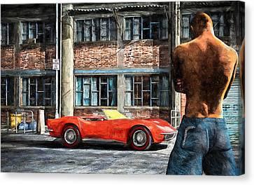 Red Corvette Canvas Print by Bob Orsillo
