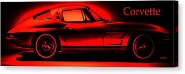 Red Corvette Canvas Print by George Pedro