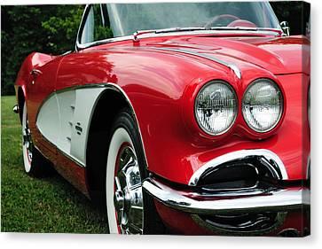 Red Corvette Canvas Print by John Kiss