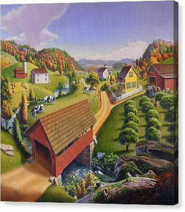 Red Covered Bridge Country Farm Landscape - Square Format Canvas Print