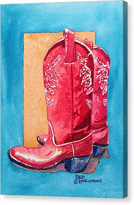 Contemporary Cowgirl Art Canvas Print - Red Cowgirl Boots by Deb  Harclerode