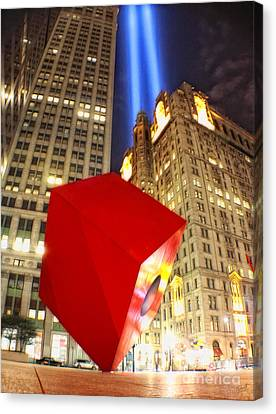 Red Cube Sculpture And Tributes In Light Canvas Print by Nishanth Gopinathan