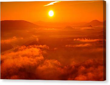 Red Dawn On The Lilienstein Canvas Print