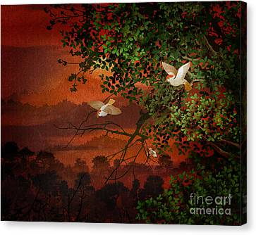 Sun Rays Canvas Print - Red Dawn Sparrows by Peter Awax