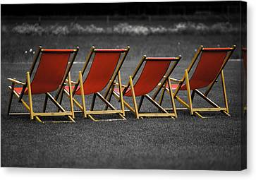 Red Deck Chairs Canvas Print by Mikhail Pankov