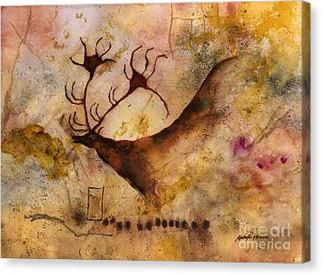 Red Deer Canvas Print by Hailey E Herrera
