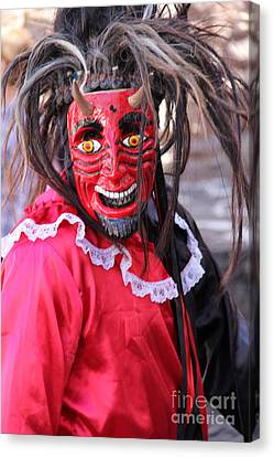 Red Devil At The Santa Prisca Parade Canvas Print by Linda Queally