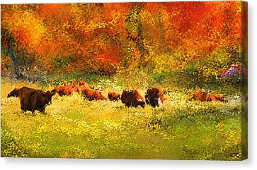 Red Devon Cattle In Autumn -cattle Grazing Canvas Print by Lourry Legarde