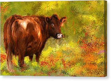 Red Devon Cattle - Red Devon Cattle In A Farm Scene- Cow Art Canvas Print