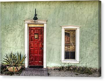 Red Door And Window Canvas Print by Ken Smith