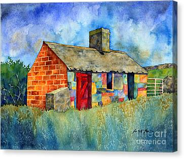 Red Door Cottage Canvas Print by Hailey E Herrera
