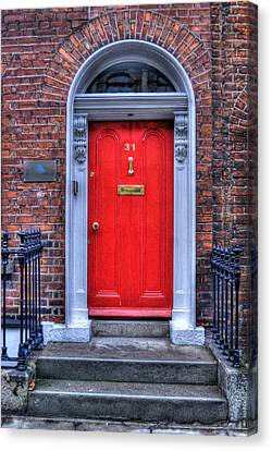 Red Door Dublin Ireland Canvas Print by Juli Scalzi