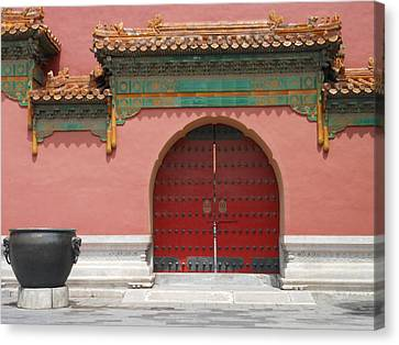 Canvas Print featuring the photograph Red Door In The Forbidden City by Kay Gilley