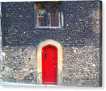 Red Door In Winchester Uk Canvas Print by Haleh Mahbod