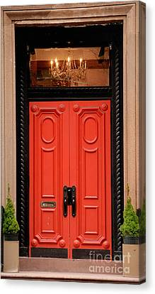 Porch Canvas Print - Red Door On New York City Brownstone by Amy Cicconi