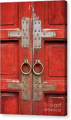 Panel Door Canvas Print - Red Doors 01 by Rick Piper Photography