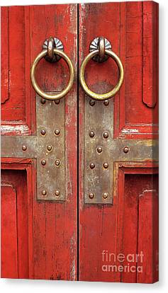 Panel Door Canvas Print - Red Doors 02 by Rick Piper Photography