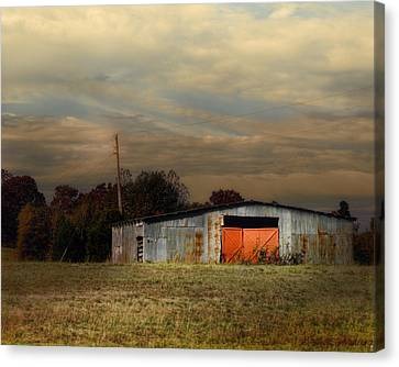 Red Doors - Barn At Sunset Canvas Print by Jai Johnson