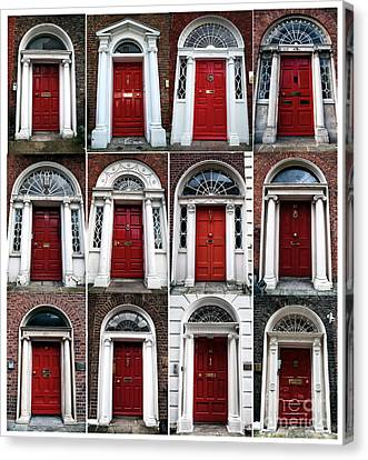 Red Doors Of Dublin Canvas Print by John Rizzuto