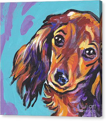 Red Doxie Baby Canvas Print by Lea S