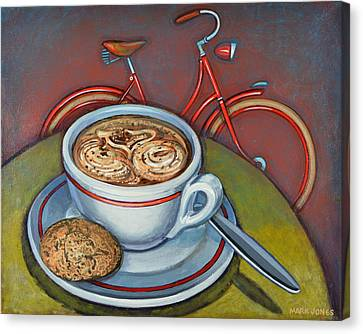 Canvas Print featuring the painting Red Dutch Bicycle With Cappuccino And Amaretti by Mark Howard Jones
