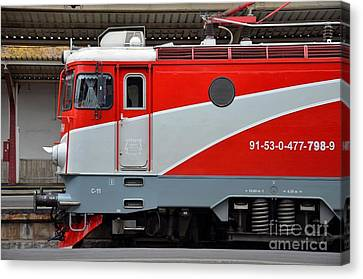 Canvas Print featuring the photograph Red Electric Train Locomotive Bucharest Romania by Imran Ahmed
