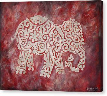 Red Elephant Canvas Print by Jennifer Kelly