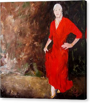 Canvas Print featuring the painting Red Ellegance by Keith Thue