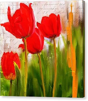 Tulip Canvas Print - Red Enigma- Red Tulips Paintings by Lourry Legarde