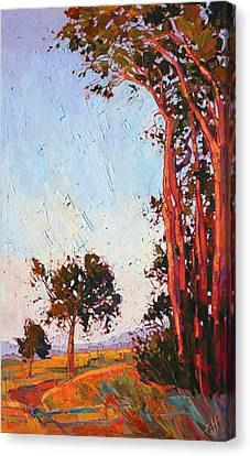 Canvas Print featuring the painting Red Eucalyptus  by Erin Hanson