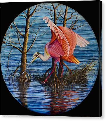 Canvas Print featuring the painting Red Eye by AnnaJo Vahle