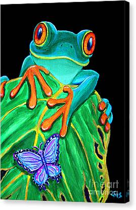 Red Eye Canvas Print - Red-eyed Tree Frog And Butterfly by Nick Gustafson