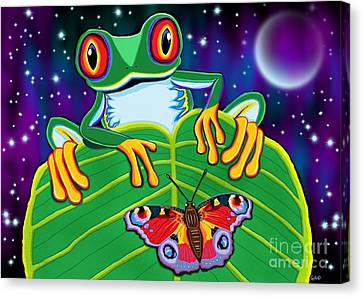 Red Eyed Tree Frog And Moth Canvas Print by Nick Gustafson