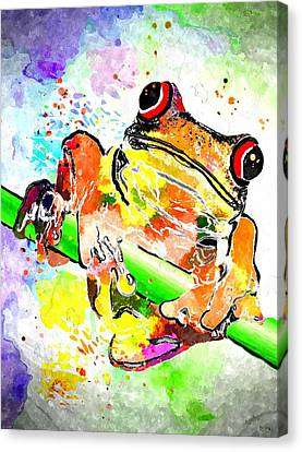 Red Eyed Tree Frog Grunge Canvas Print