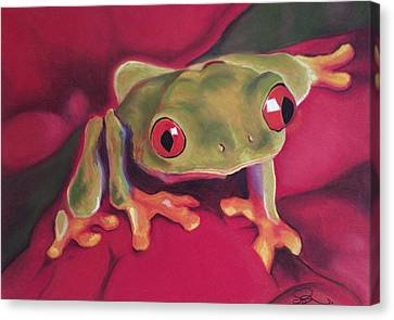 Red-eyed Tree Frog On Red Foliage Canvas Print